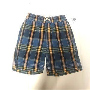 GAP   Boys plaid swim trunks S 6/7